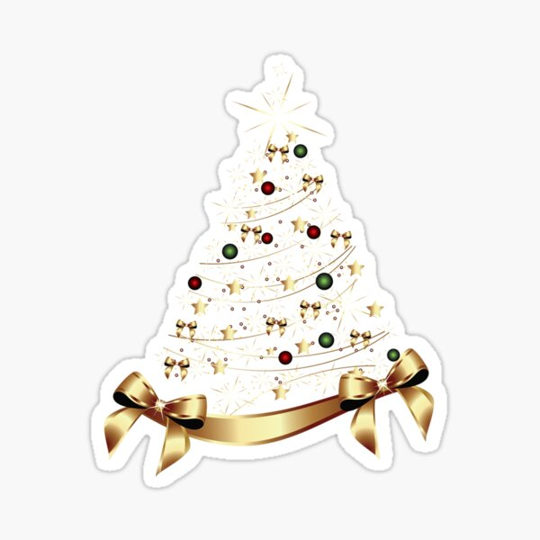 Golden Xmas Tree Sticker