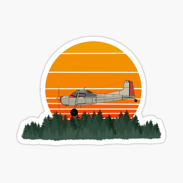 Cessna 185 Skywagon Vintage Sunset Sticker