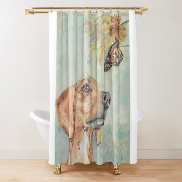 The Hound and the Butterfly Watercolor Shower Curtain