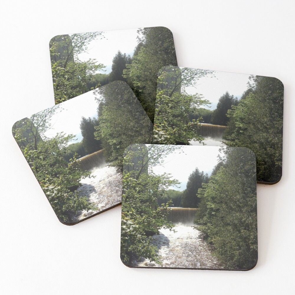 Nature, Water, Forest, Bathroom decor, Forest sticker, Forest magnet,  Coasters (Set of 4)