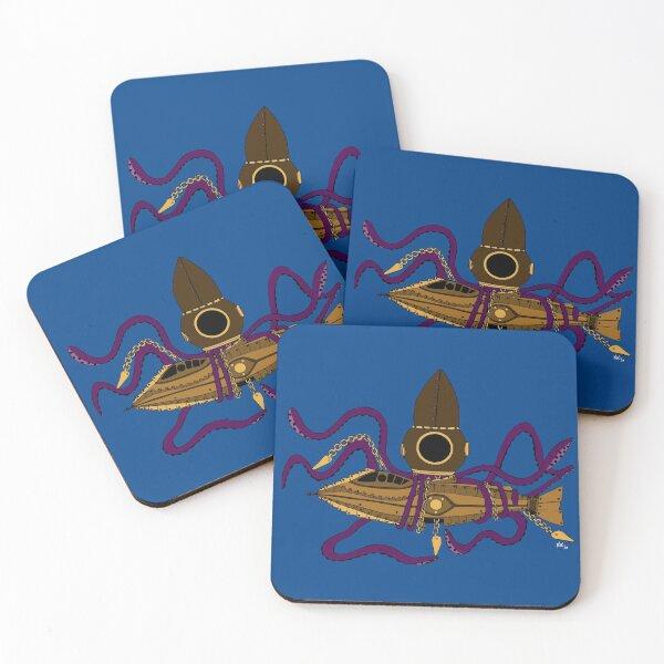 Nautilus Steampunk Posavasos (lote de 4)
