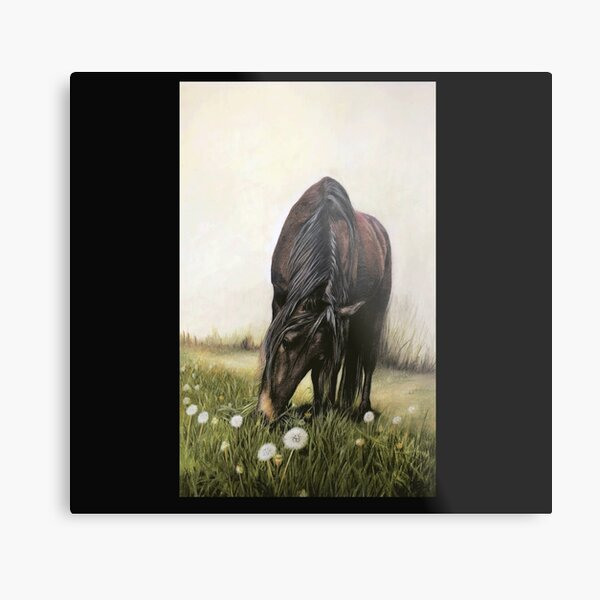 Horse Art, Horse Painting, Horse in Field with Dandelions Metal Print