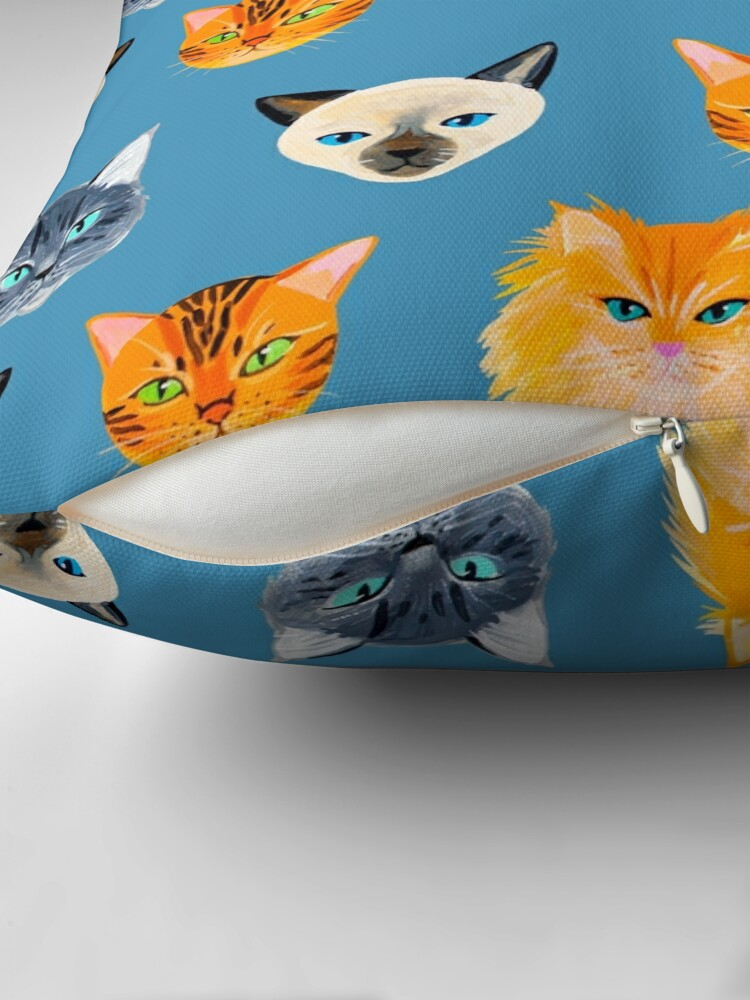 Alternate view of Cats Blue Throw Pillow
