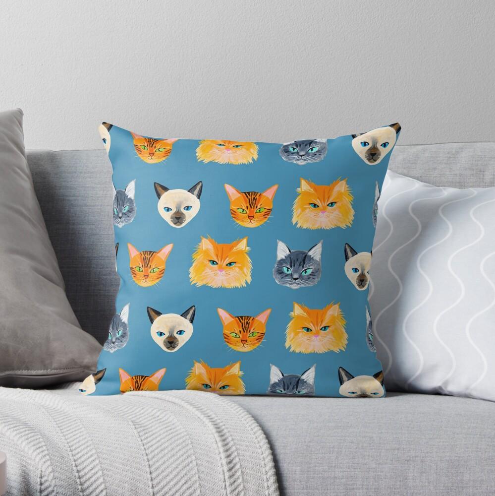 Cats Blue Throw Pillow