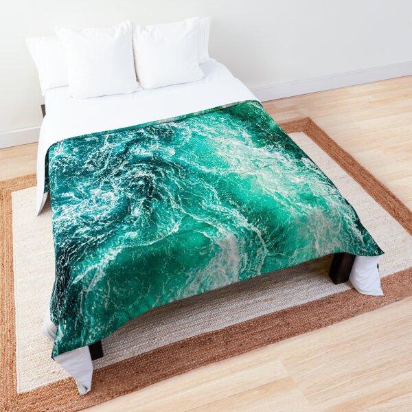 Green Ocean Waves Top Down View Comforter
