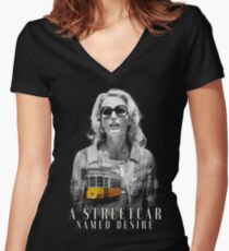 Gillian Anderson - A Streetcar Named Desire Women's Fitted V-Neck T-Shirt