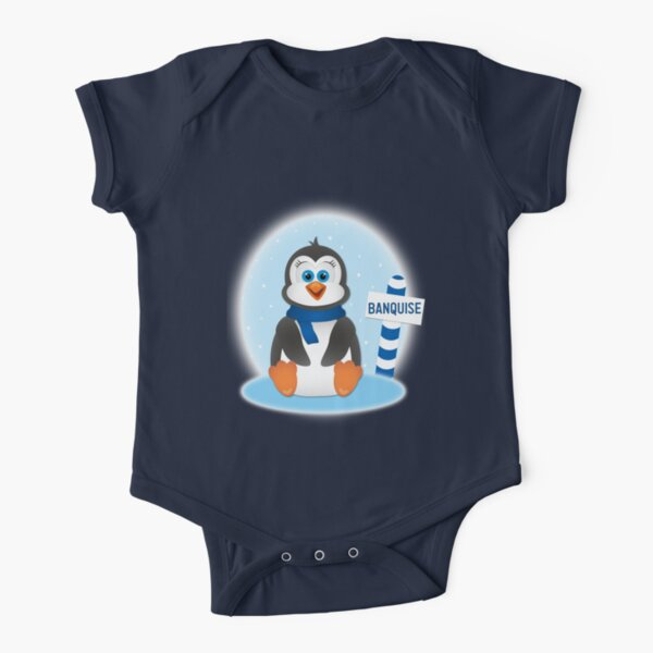 Cute Baby Penguin on Ice Floe Short Sleeve Baby One-Piece