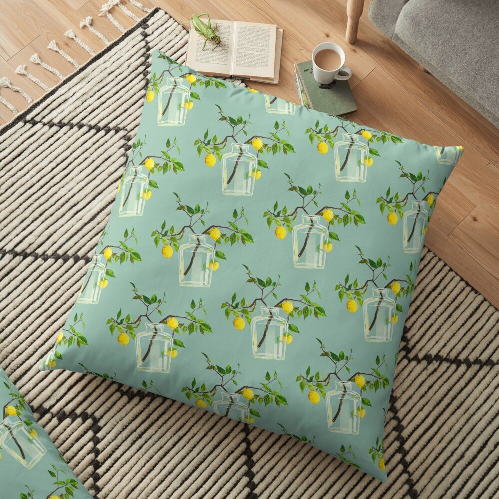 Lemon Tree Pattern Floor Pillow