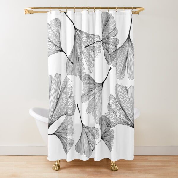 Ginkgo leaves black and white drawing Shower Curtain