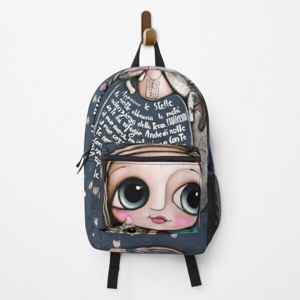 The girl in the night and the cute cat Backpack