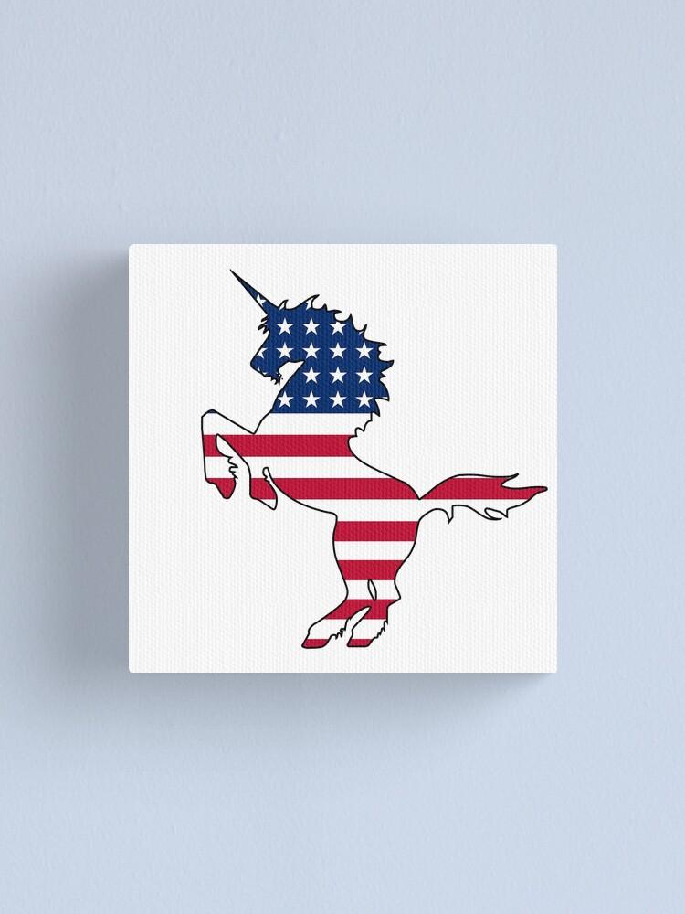 Alternate view of American flag unicorn Canvas Print