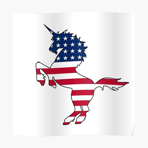 American flag unicorn Poster
