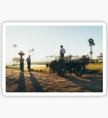 Burmese Farmer on Cart Talking to Two Other Farmers in Early Morning Light Sticker