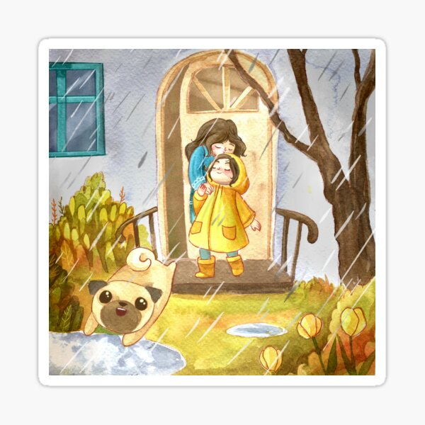Mouse's Splashy Tuesday - Girl Playing in Rain with Pug Sticker