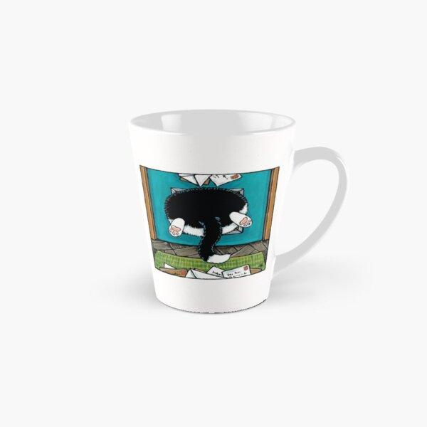 Bit of a Squeeze - Cat in a Cat Flap Tall Mug