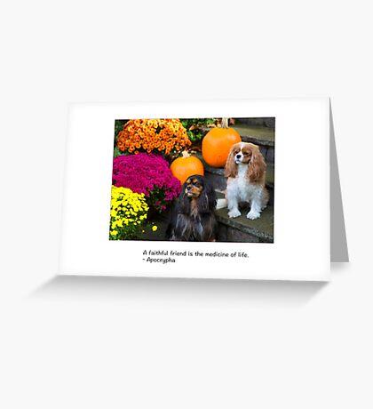A Faithful Friends Cavalier King Charles Greeting Card