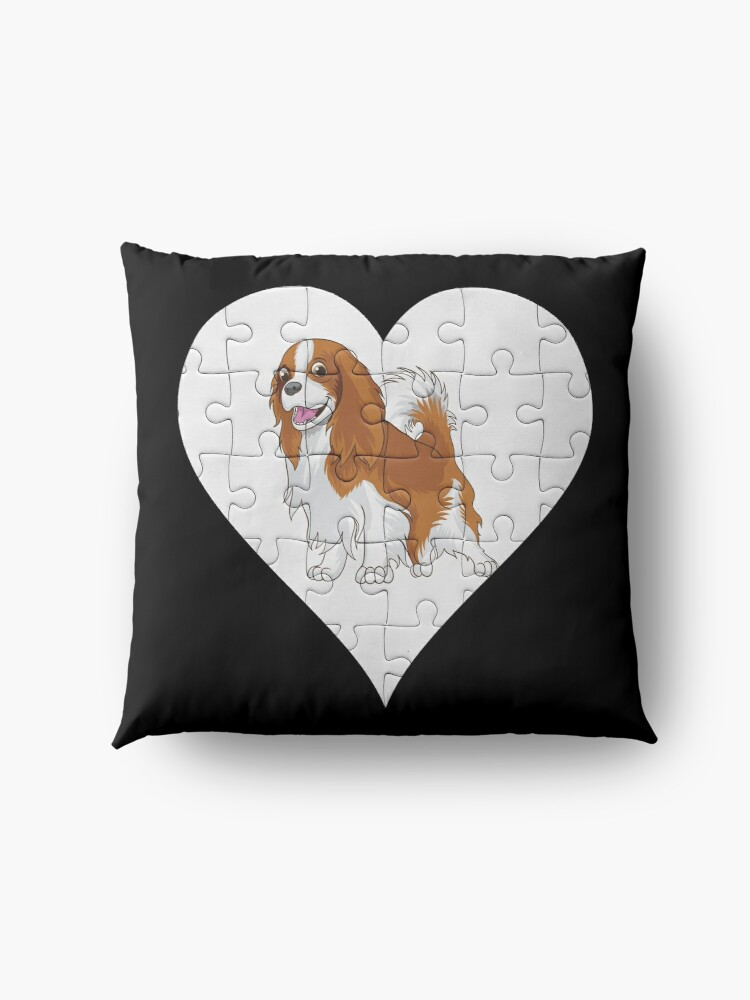 Alternate view of  Cavalier King Charles Spaniel Heart Jigsaw Pieces Design - Cavie Floor Pillow