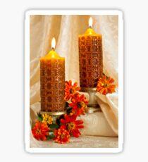 Zinnias And Candles Still Life  Sticker