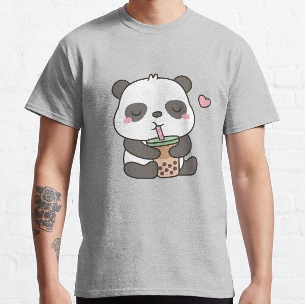 Cute Little Panda Enjoying Boba Tea Classic T-Shirt