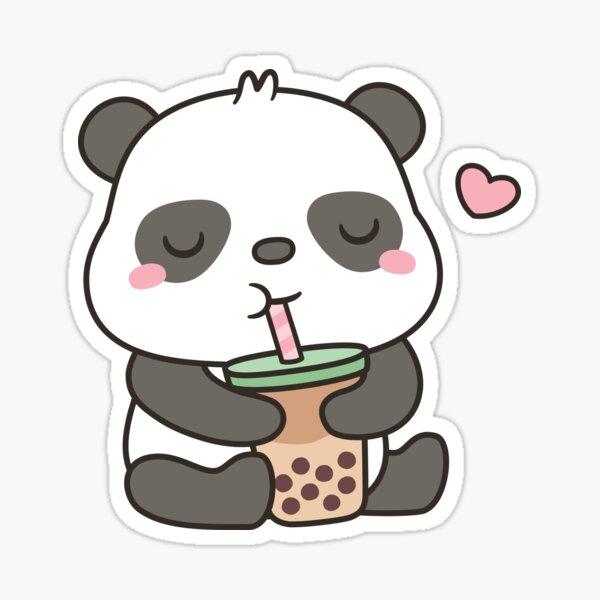 Cute Little Panda Enjoying Boba Tea Sticker