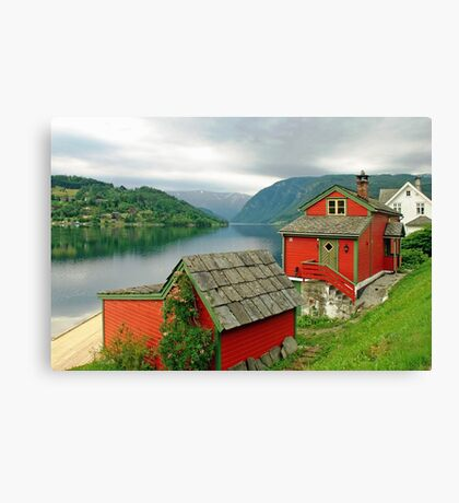 Houses at the fjord Canvas Print