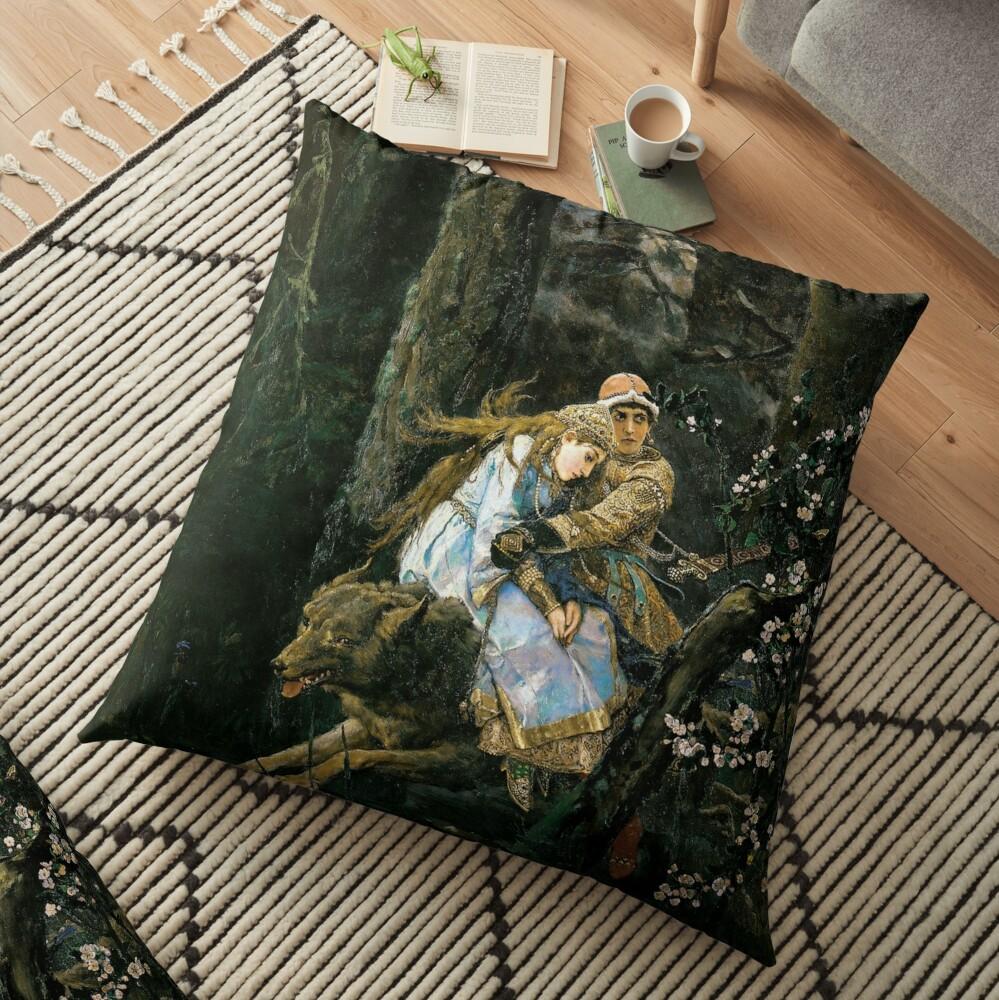 Ivan tsarevich riding the grey wolf Floor Pillow