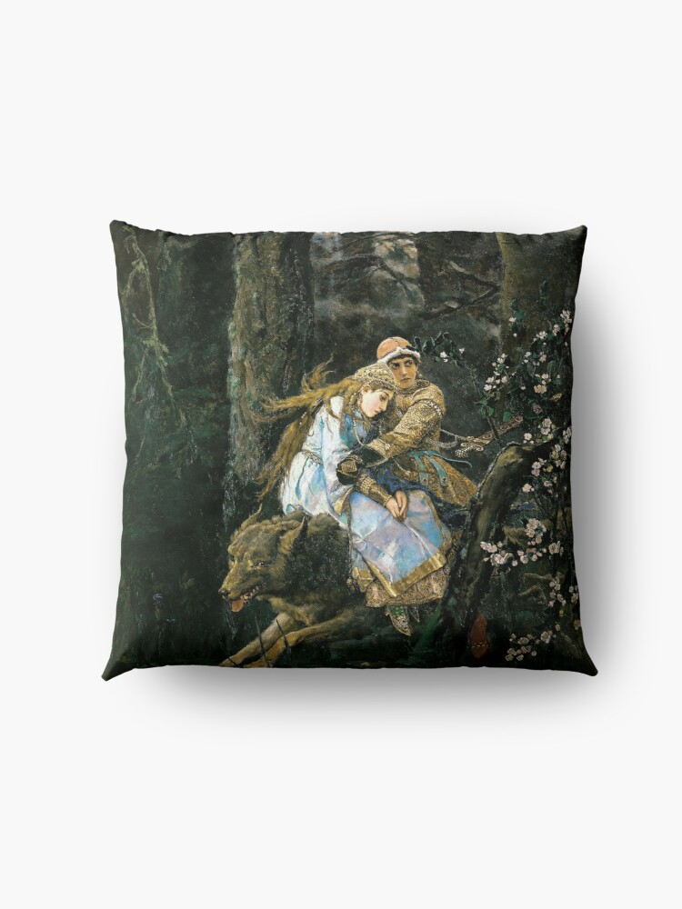 Alternate view of Ivan tsarevich riding the grey wolf Floor Pillow