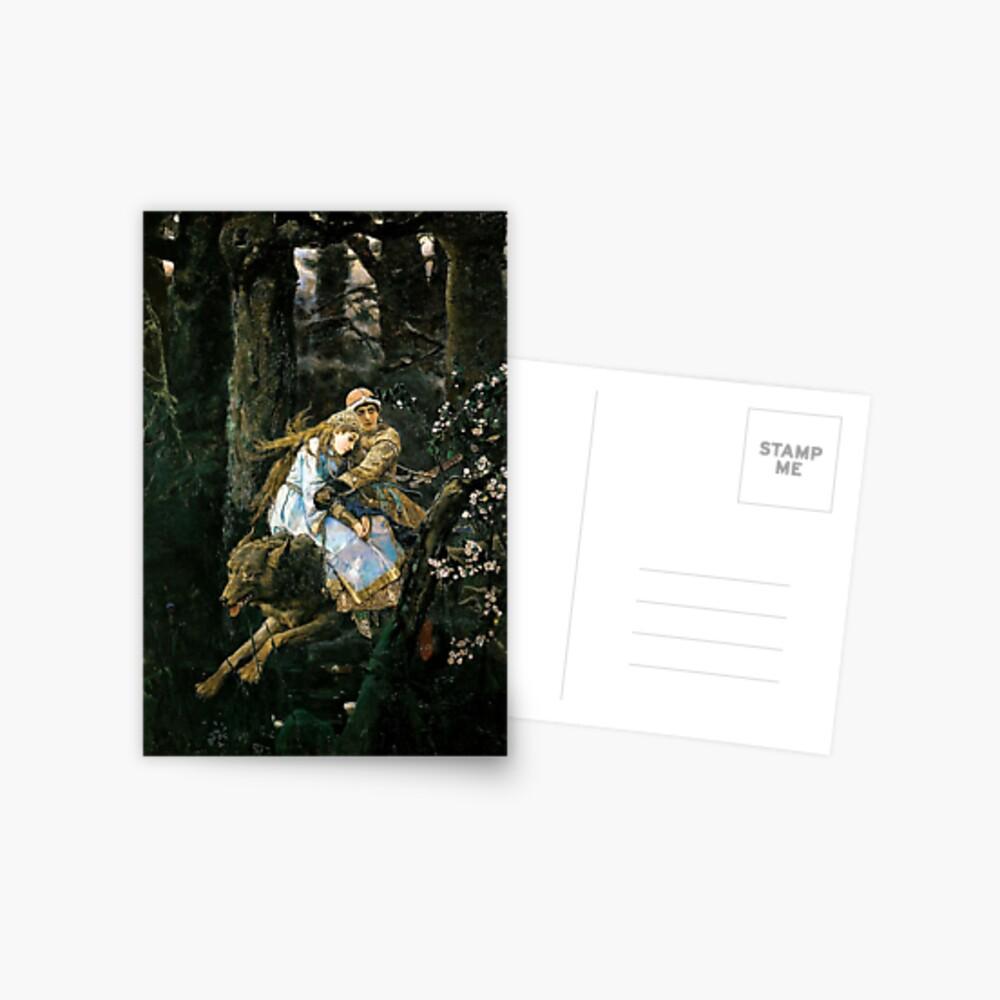 Ivan tsarevich riding the grey wolf Postcard