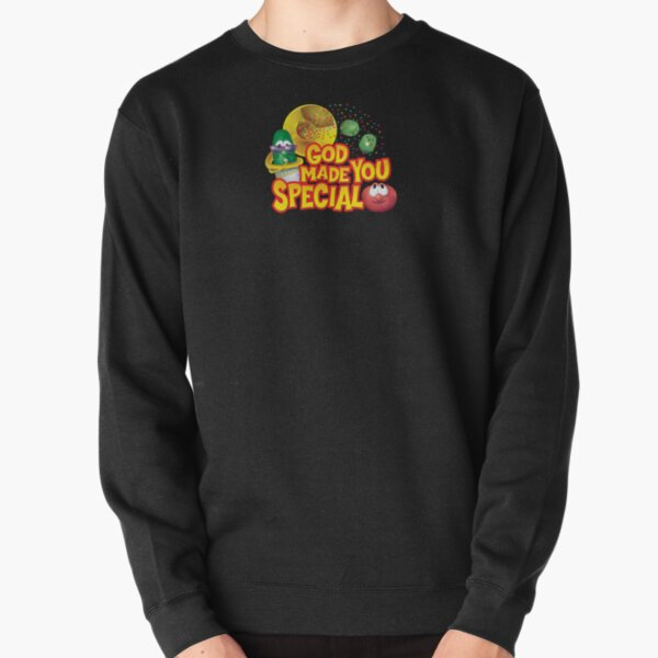 Veggie Message: God Made You Special! Black Background Pullover Sweatshirt