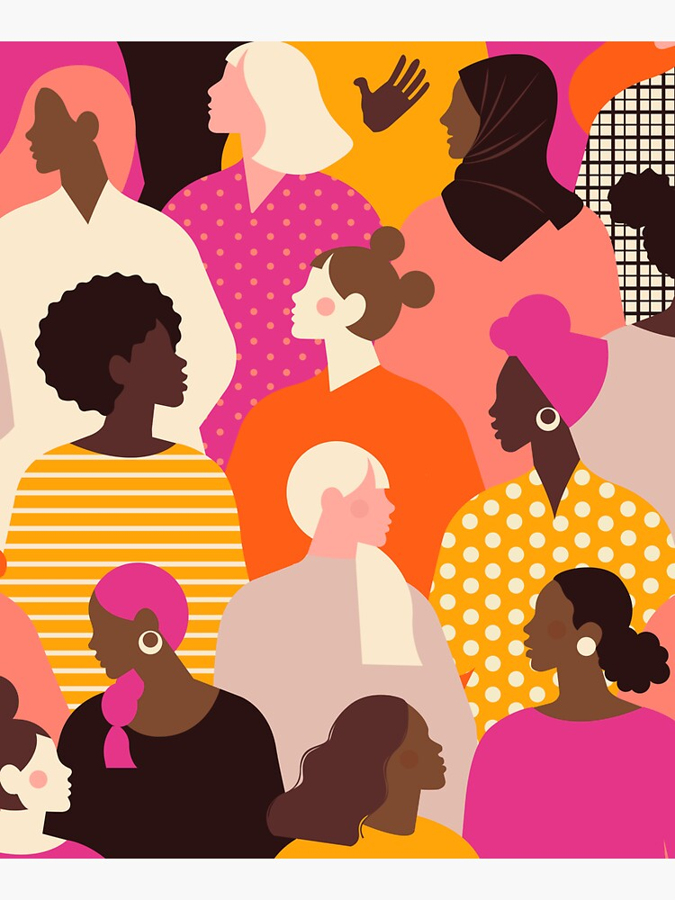 Colorful feminist pattern of women in pink tones by Kanae19