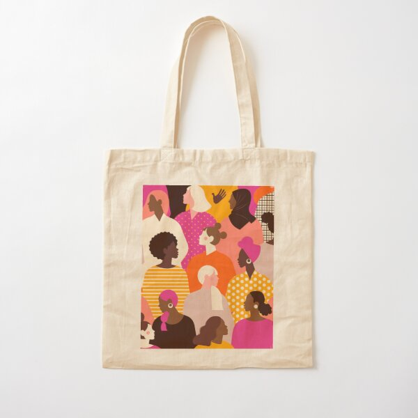 Colorful feminist pattern of women in pink tones Cotton Tote Bag
