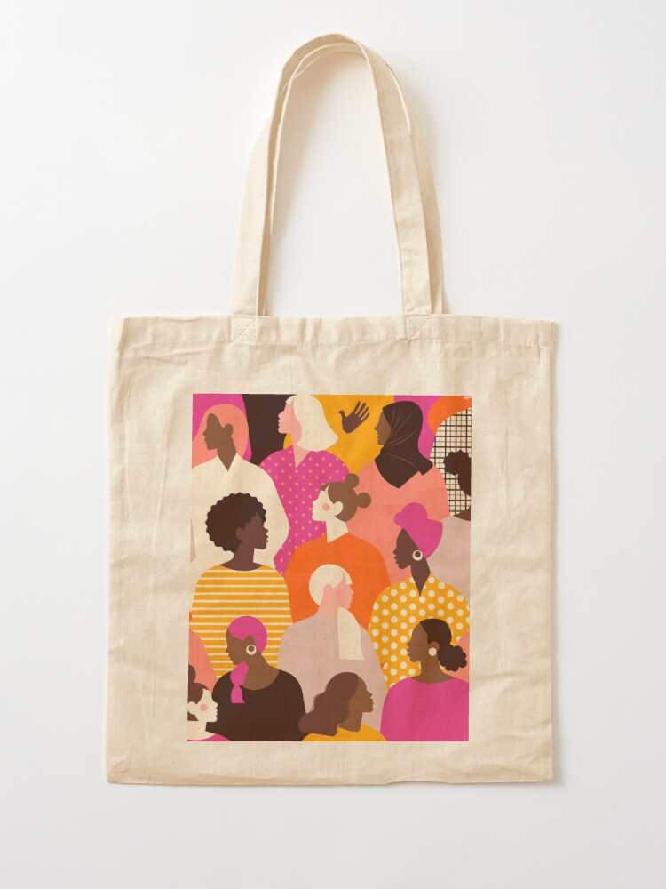 Alternate view of Colorful feminist pattern of women in pink tones Tote Bag