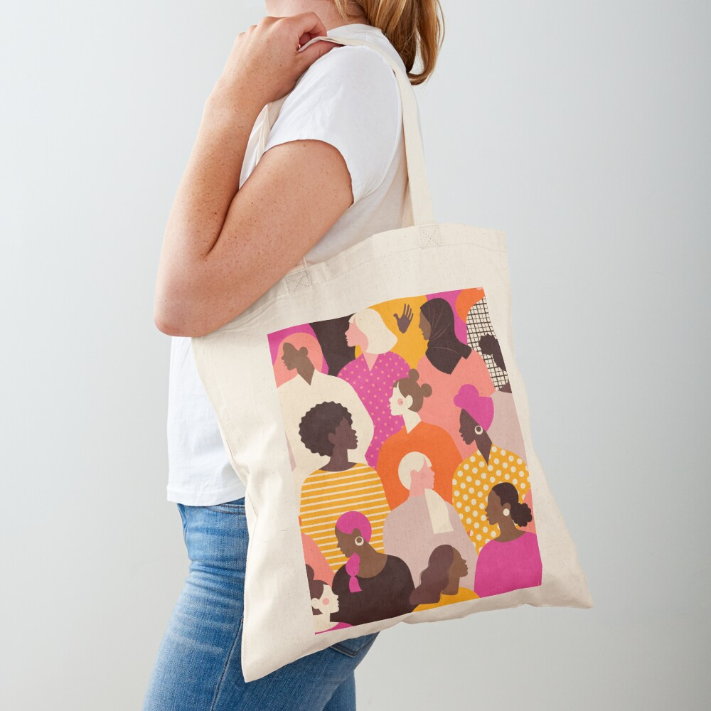 Colorful feminist pattern of women in pink tones Tote Bag