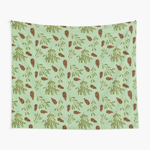 Mistletoe and Pine Cone Pattern Tapestry