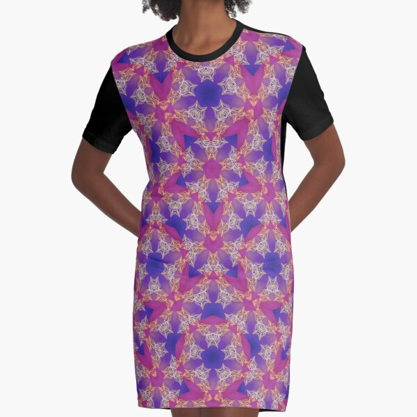 Gold Pink and Purple Mandala and Star Pattern Graphic T-Shirt Dress