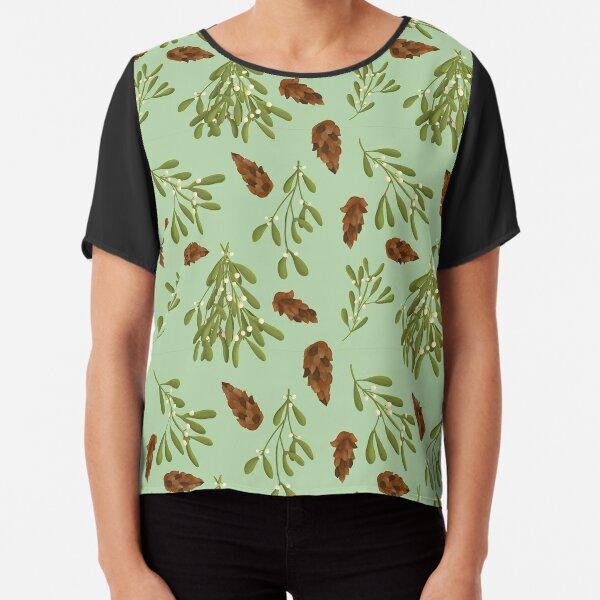Mistletoe and Pine Cone Pattern Chiffon Top