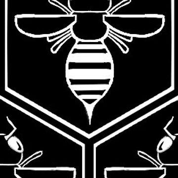 graphic bee in honeycomb by VanityGames