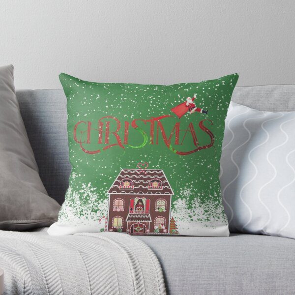 Christmas ginger bread house Throw Pillow