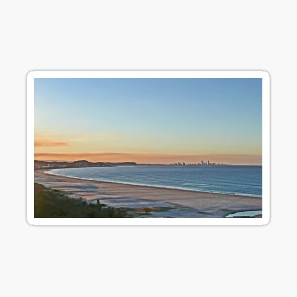 Sunset on Bilinga Beach and Surfers Paradise, Qld, Australia Sticker