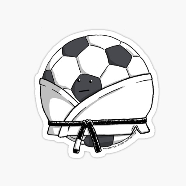 Pin-Sprites - Soccer Ball in a Gi - Black and White/Face Sticker