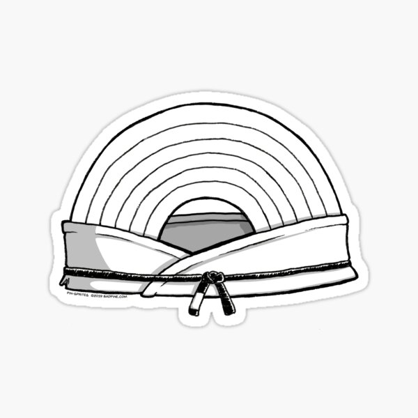 Pin-Sprites - Rainbow in a Gi - Black and White/ No-Face Sticker