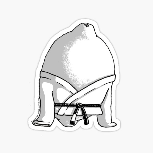 Pin-Sprites - Lemon in a Gi - Black and White/ No-Face Sticker