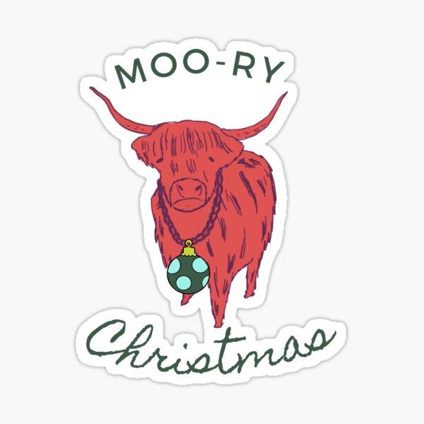 Moo-ry Christmas Sticker
