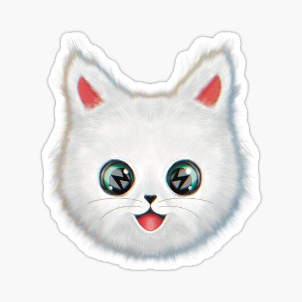 Kawai cute fluffy cat with lightning  Sticker