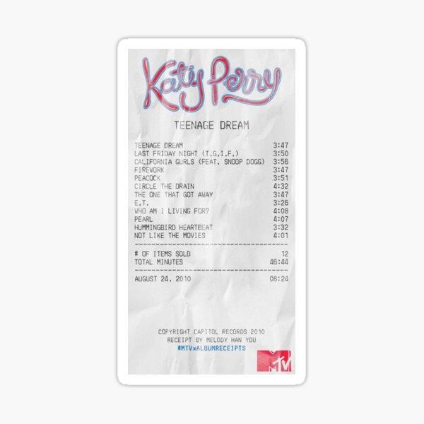 Teenage Dream by Katy Perry - Album Receipt Pegatina