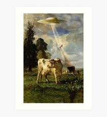 Cow Kidnapping Art Print