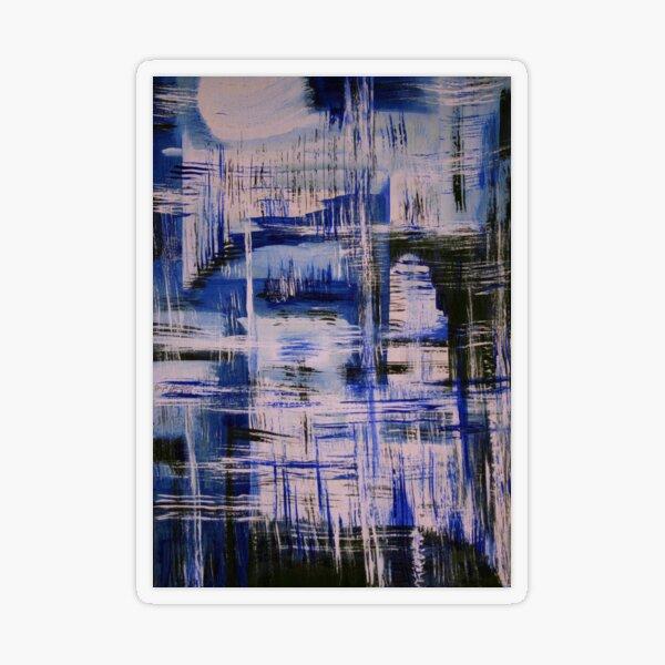 Surreal harbor landscape; Graphic painting in blue Transparent Sticker