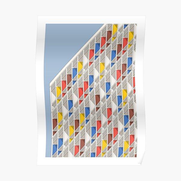 Arquitectura Le Corbusier Ilustración minimalista Fachada Cité Radieuse Póster