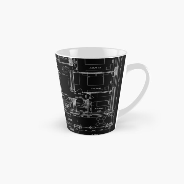 Detailed architectural private house floor plan, apartment layout, blueprint. Vector illustration Tall Mug