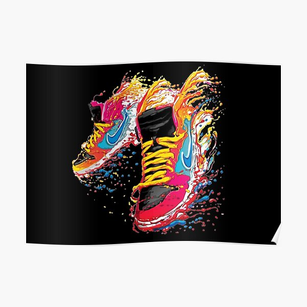 Watercolour Flying Sneakers Poster